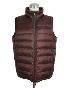 Herno Grey Burgundy Down Lining Reversible Vest 1