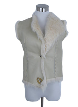 Henry Beguelin Cream Leather Shearling Fur Vest Outerwear 1