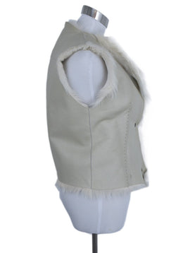 Henry Beguelin Cream Leather Shearling Fur Vest Outerwear 3