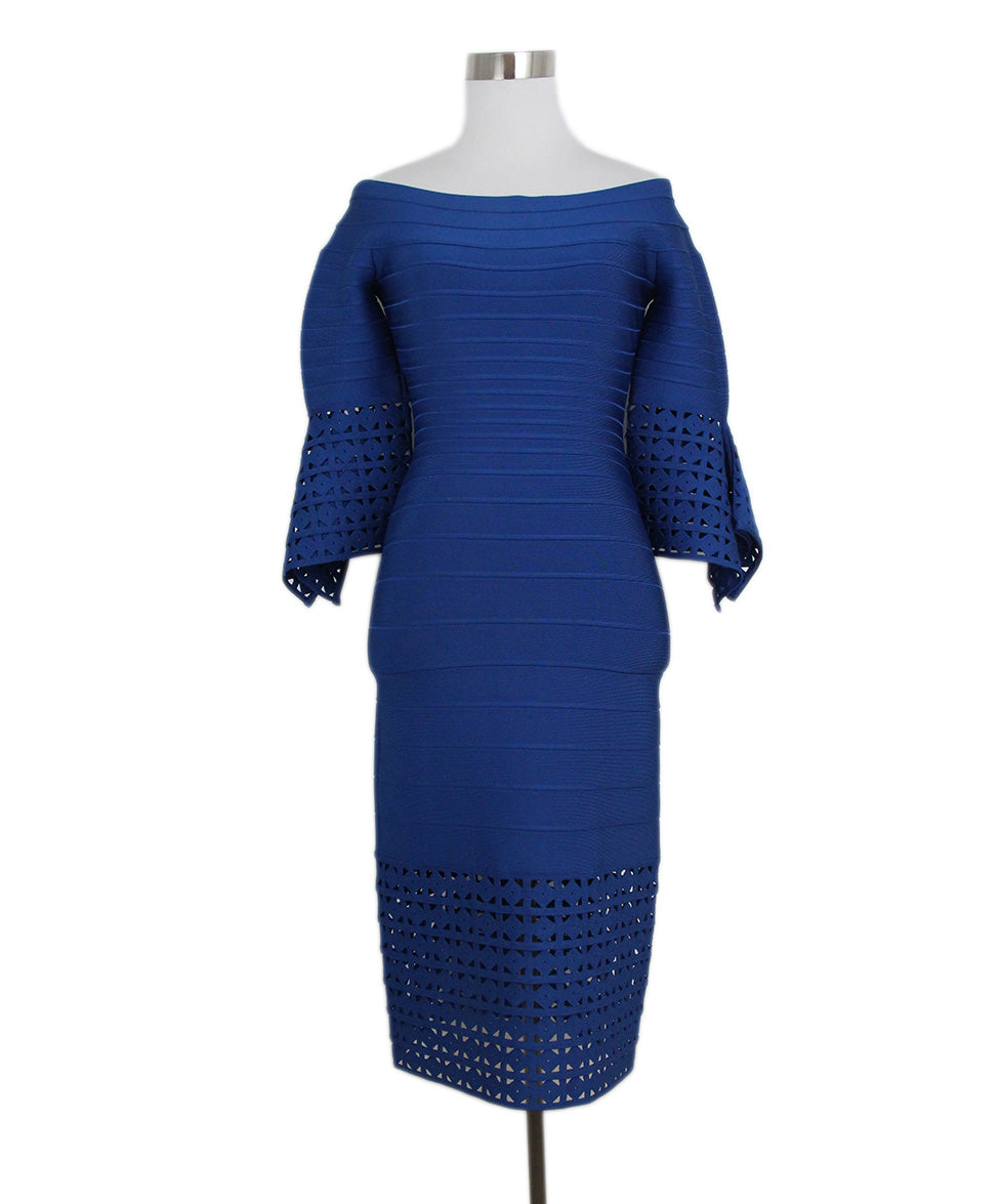 ad0c884f400e Herve Leger Size 4 Blue Royal Viscose Cutwork Detail Dress ...