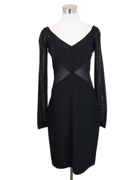 Herve Leger Black Rayon Illusion Dress 1