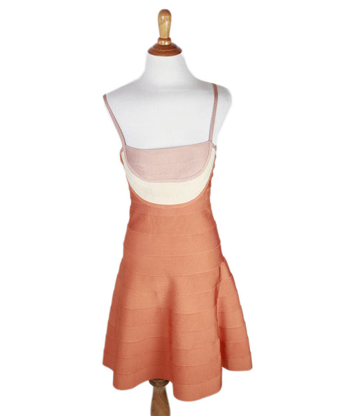 Herve Leger  Orange Beige Tan Rayon Dress Sz 4