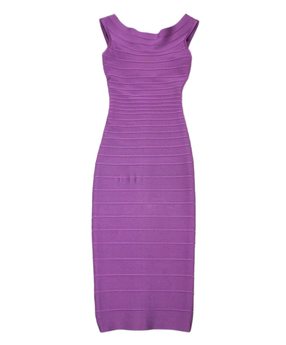 Herve Leger Purple Rayon Spandex Dress Sz XXS - Michael's Consignment NYC  - 1