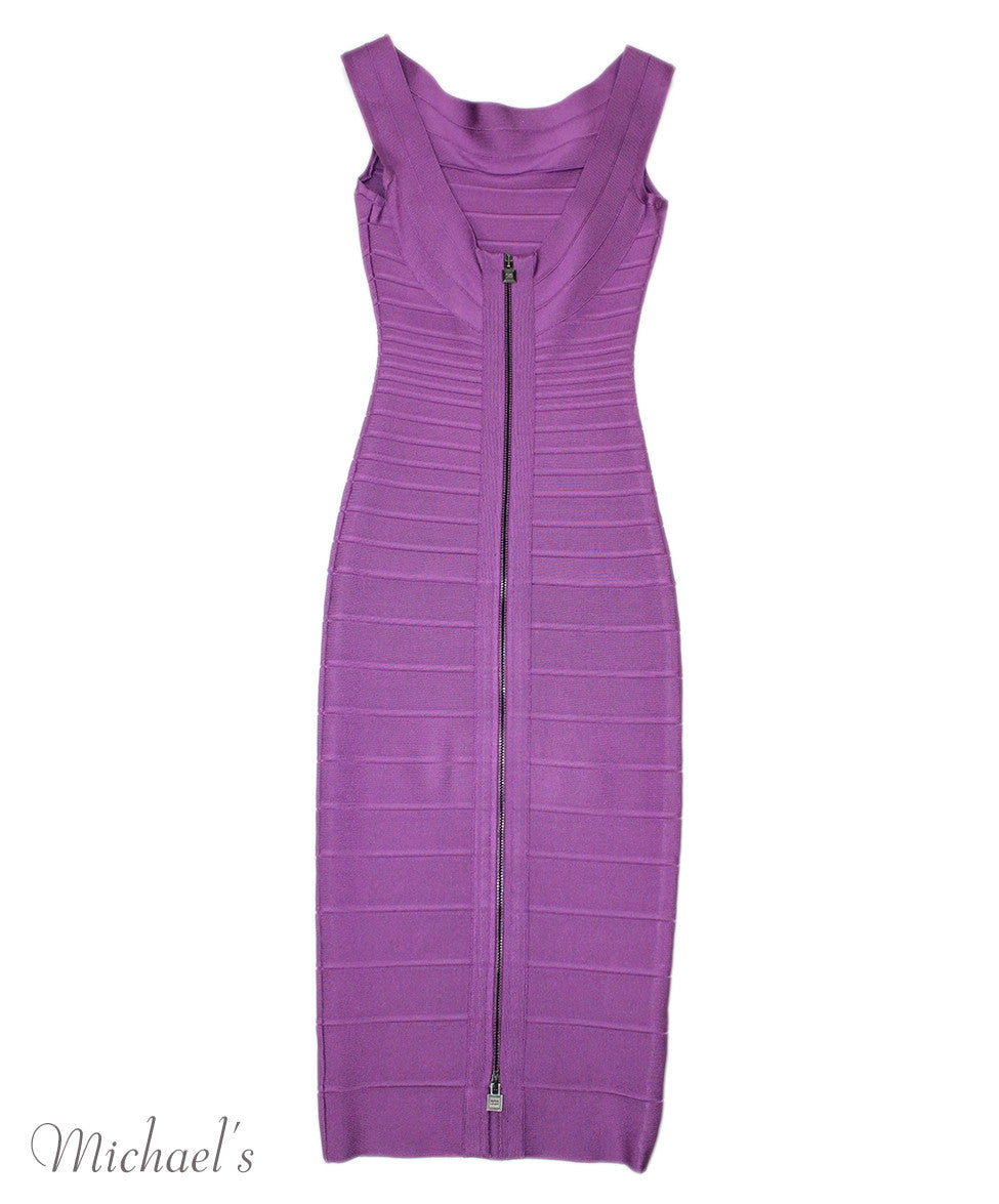 Herve Leger Purple Rayon Spandex Dress Sz XXS - Michael's Consignment NYC  - 2