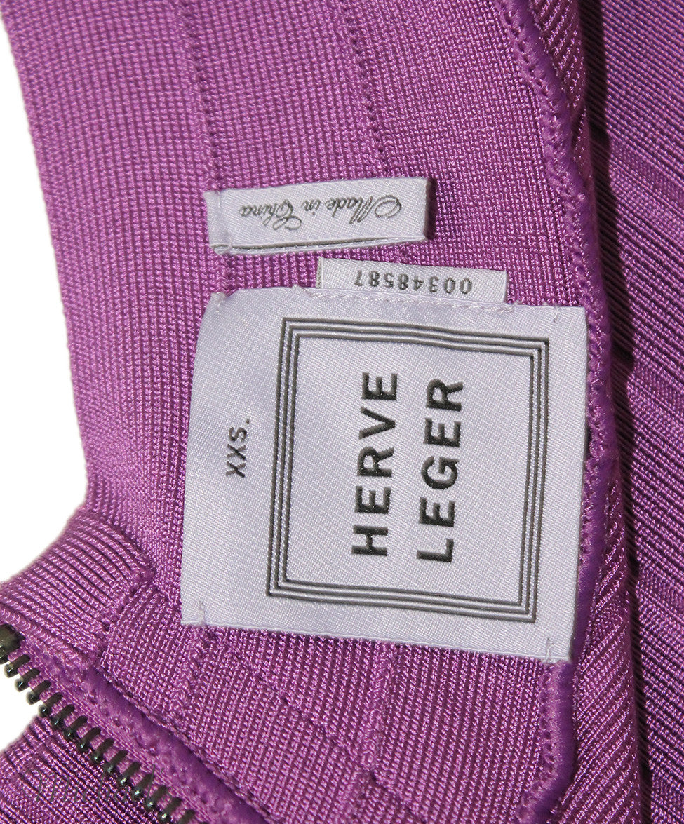 Herve Leger Purple Rayon Spandex Dress Sz XXS - Michael's Consignment NYC  - 3