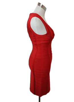 Herve Leger Red Viscose Spandex Dress 2