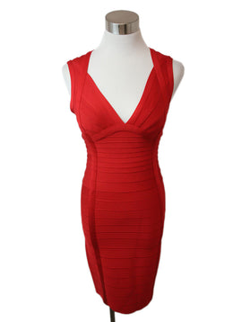 Herve Leger Red Viscose Spandex Dress 1