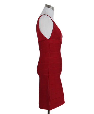 Herve Leger Red Deep V Dress 1