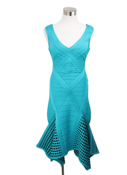 Herve Leger Teal Green Viscose Dress 1
