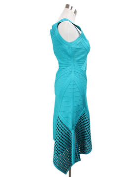 Herve Leger Teal Green Viscose Dress 2