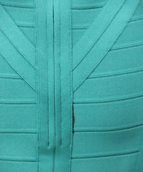 Herve Leger Teal Green Viscose Dress 6
