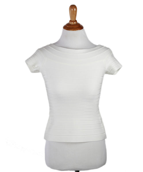Herve Leger White Ivory Viscose Spandex Top Sz XS