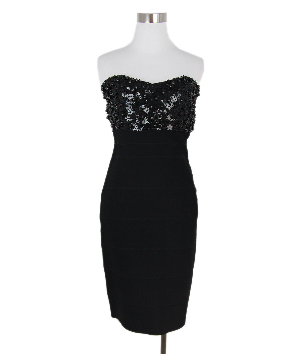 Herve Leger black beaded trim dress 1