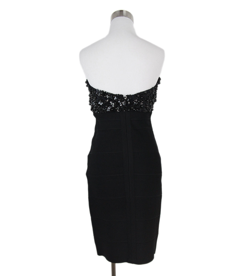 Herve Leger black beaded trim dress 3