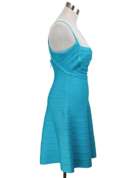 Herve Leger Blue Turquoise Viscose Spandex Dress 2