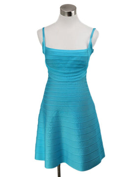 Herve Leger Blue Turquoise Viscose Spandex Dress 1
