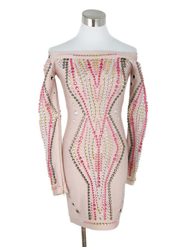 Herve Leger Pink Viscose Multi Jewel Dress 1