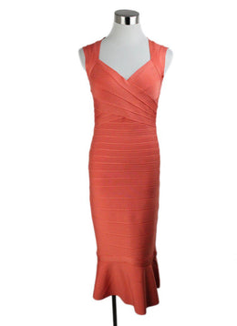 Herve Leger Orange Polyester Spandex Dress 1