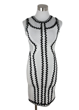 Herve Leger White Black Viscose Dress 1