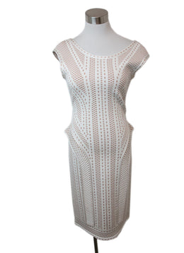 Herve Leger White Beige Print Viscose Dress 1