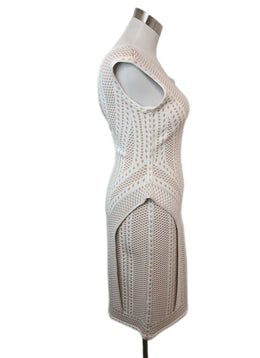 Herve Leger White Beige Print Viscose Dress 2