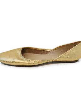 Hogan Gold Leather Flats 1