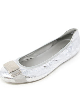 Hogan Silver Quilted Leather Flats 1