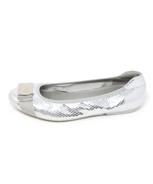 Hogan Silver Quilted Leather Flats 2