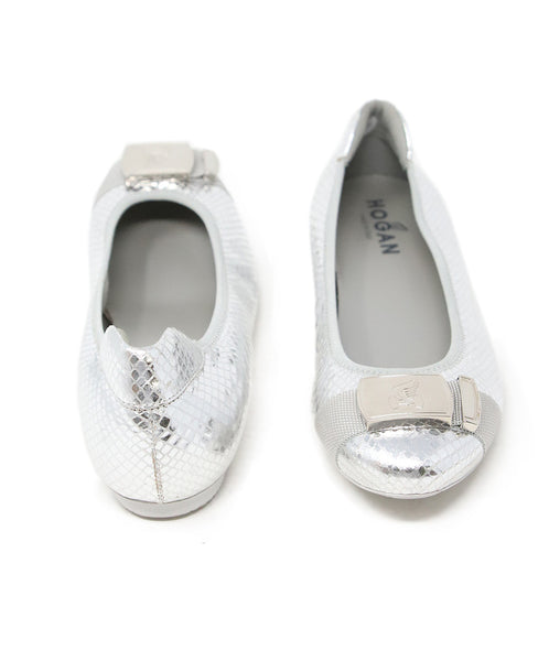 Hogan Silver Quilted Leather Flats 3