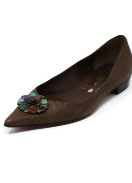 Hollywould Brown Pressed Leather Stone Flats