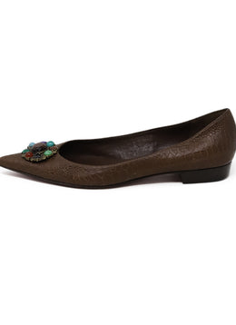 Hollywould Brown Pressed Leather Stone Flats 1