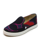 Hermes Black Slip-on Canvas Sneaker with Multi Print 1