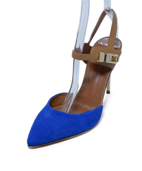 Hugo Boss Blue Suede Tan Leather Sling Backs Heels 1