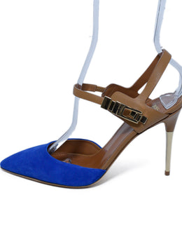 Hugo Boss Blue Suede Tan Leather Sling Backs Heels 2