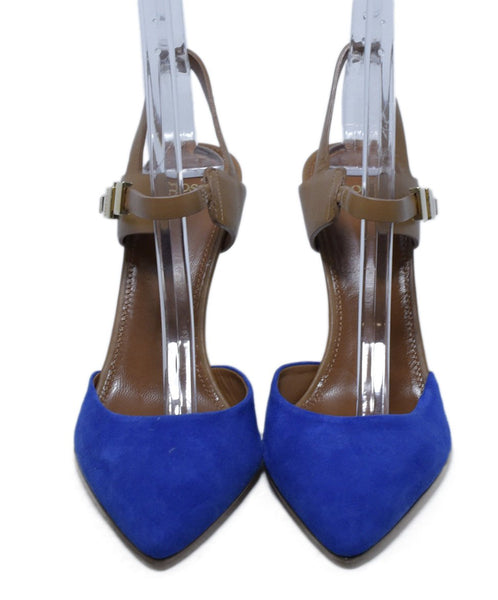 Hugo Boss Blue Suede Tan Leather Sling Backs Heels 4