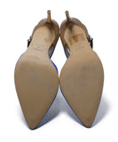 Hugo Boss Blue Suede Tan Leather Sling Backs Heels 5