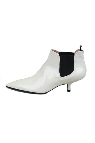 Acne Ivory Leather Kity Booties Sz 37