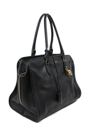 Alexander McQueen Black Leather Gold Skull Charm Handbag