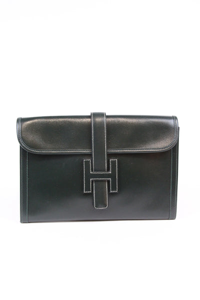 Hermes Hunter Green Clutch 1