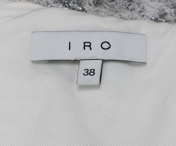 IRO Grey White Cotton Silver Polyester Jacket Sz 8