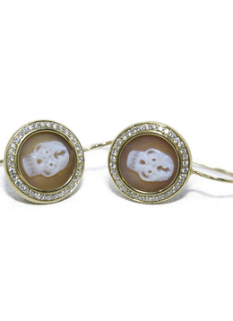 Ippolita 18 K Gold Cameo Diamonds Jewelry Earrings 2