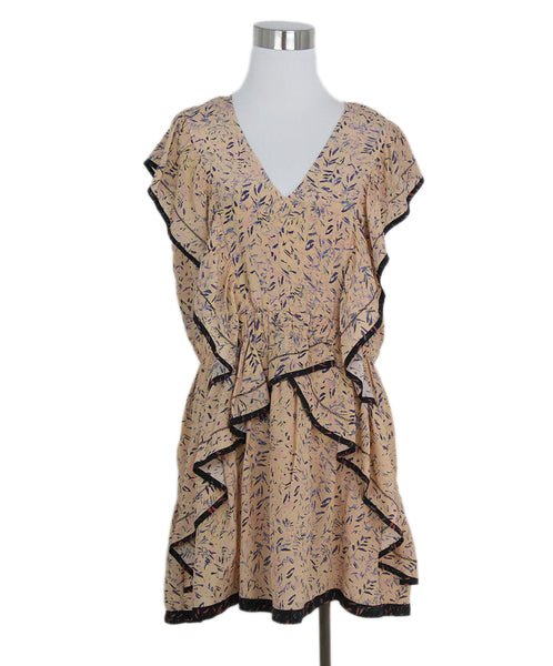 Iro peach purple print silk dress 1
