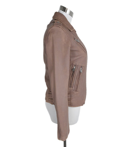 IRO Pink Lambskin Leather Distressed Jacket 1