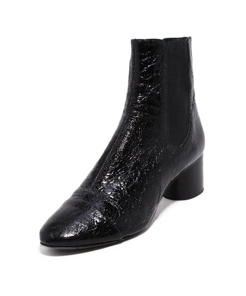 Isabel Marant Black Crackled Patent Leather Booties 1