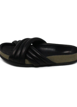 Isabel Marant Black Leather Slide Sandals 2