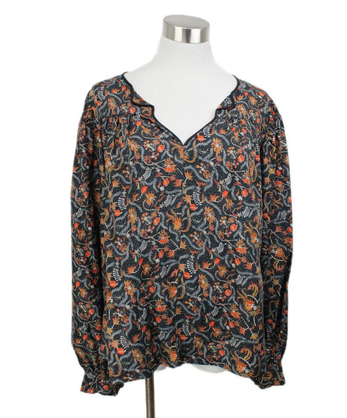 Isabel Marant Black Blouse with Orange Floral Print 1