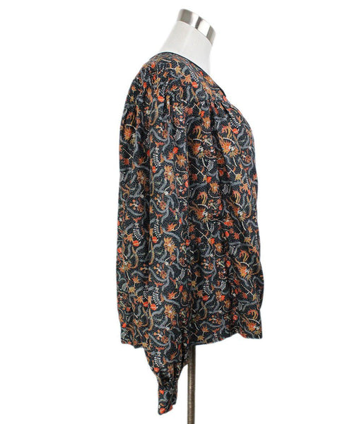 Isabel Marant Black Blouse with Orange Floral Print 2