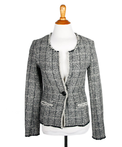 Isabel Marant Black Grey Tweed Wool Jacket Sz 34