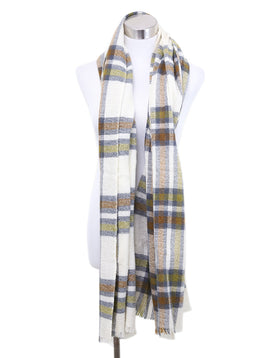 Isabel Marant Ivory Olive Brown Plaid Wool Cashmere Scarf