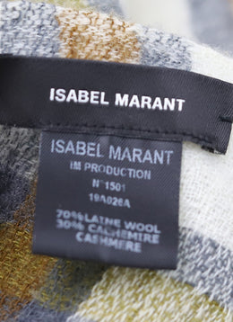 Isabel Marant Ivory Olive Brown Plaid Wool Cashmere Scarf 1